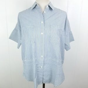 Madewell Blue White Stripe Button Front Top